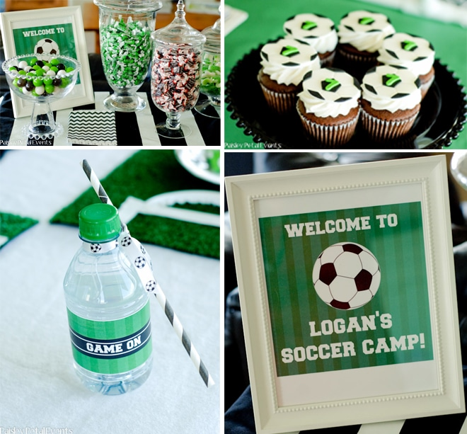 soccer birthday party green black white 3