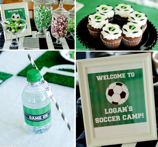 soccer birthday party green black white 3