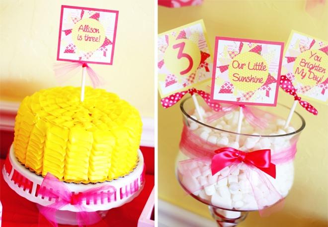 cute sunshine party cake