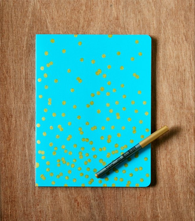 DIY TUTORIAL gilded confetti notebook finished