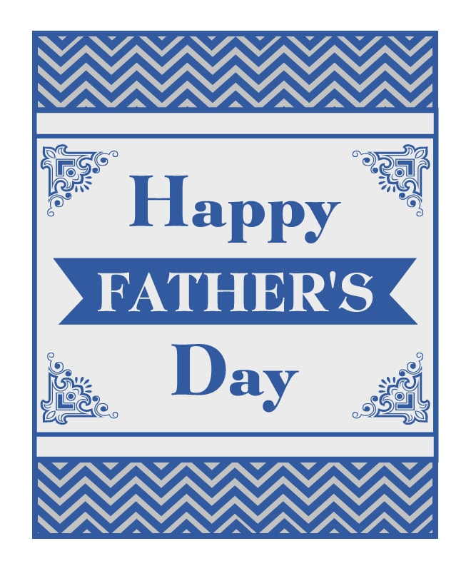 father's day chevron free printable card