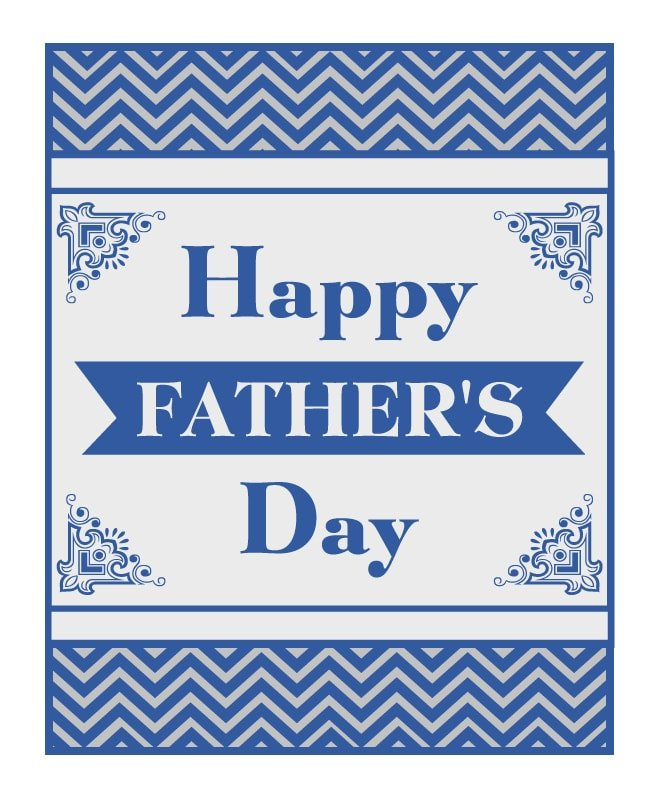 father's day chevron free printable card