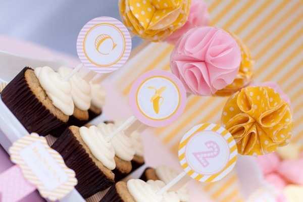 cute pink and yellow banana monkey party