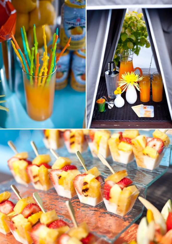 fancy appetizers at hotel poolside soiree