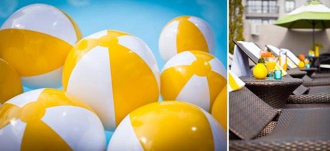 yellow beach ball party decor
