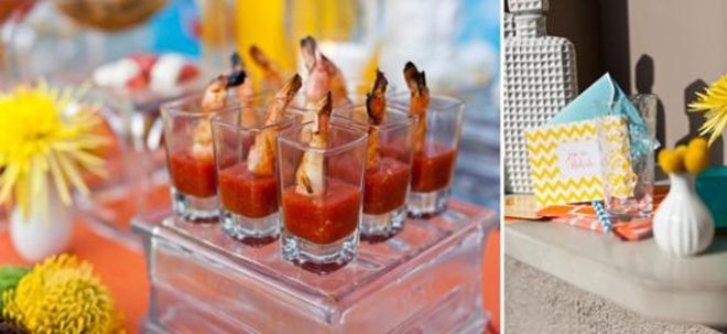 fancy mini appetizers at poolside soiree