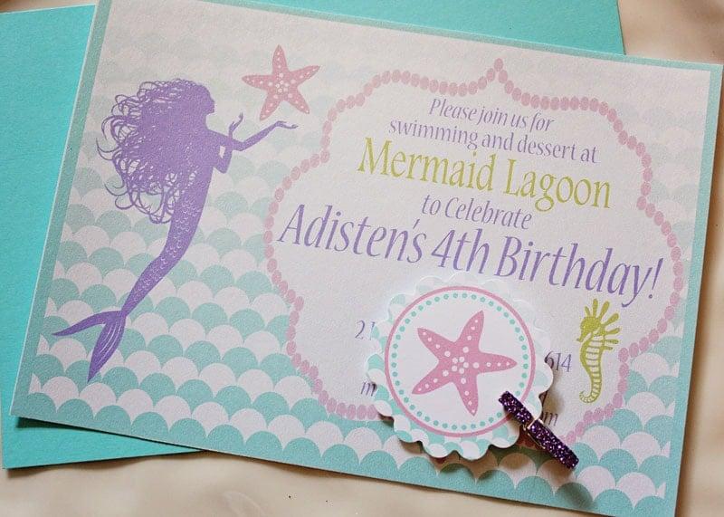 ombre mermaid birthday party invitation