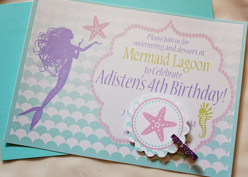 ombre mermaid birthday party invitation