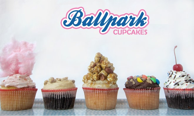 ballpark themed cupcakes