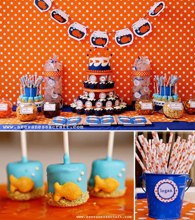 gold fish birthday party