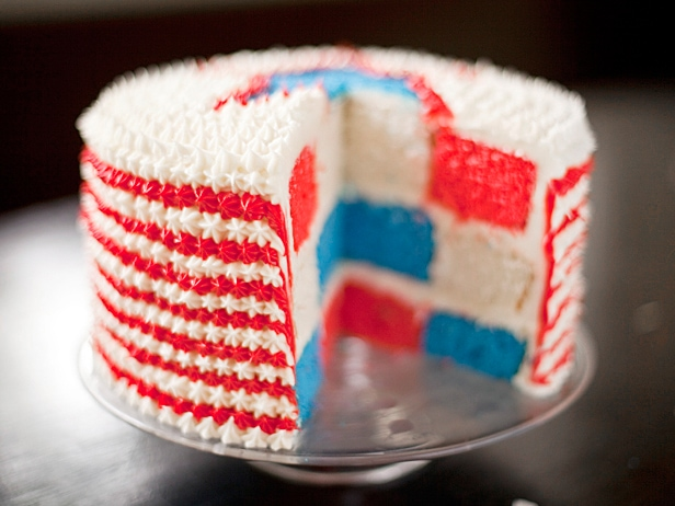july 4th checkered cake