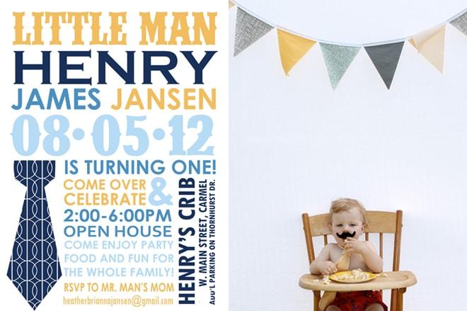 Little Man Mustache Bash Party Invitation