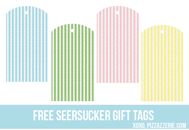 Free Seersucker Gift Tag Printable from Pizzazzerie.com