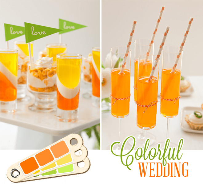 colorful orange and green wedding dessert table