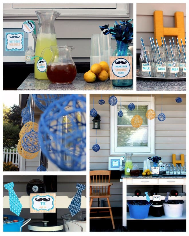 Little Man Mustaches and Ties Party Drinks