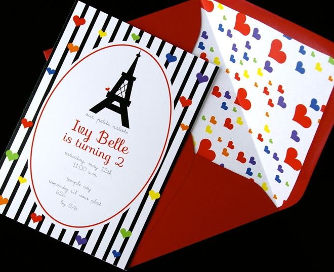 eiffel tower french birthday party invitation