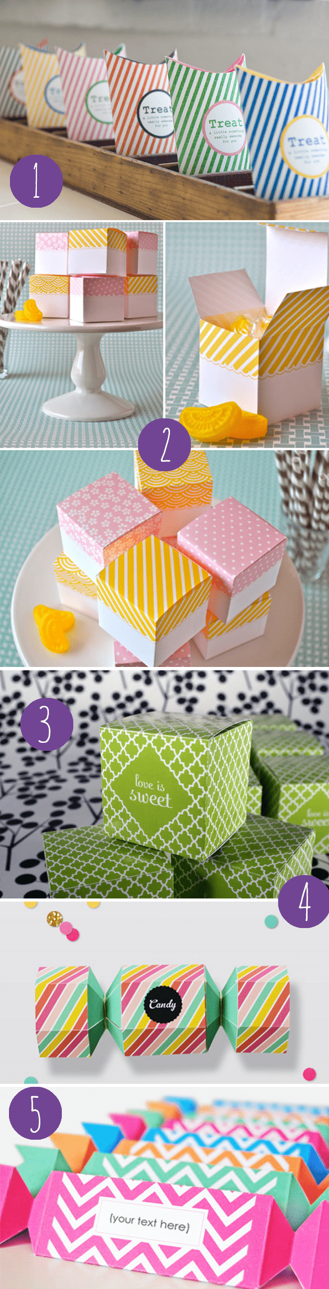 sweet collection of FREE printable favor boxes for parties, weddings, showers, + more!