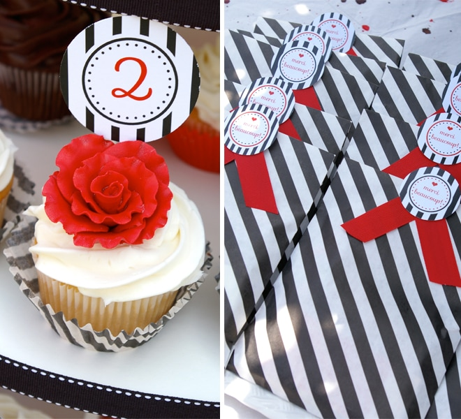 french black and white striped party details