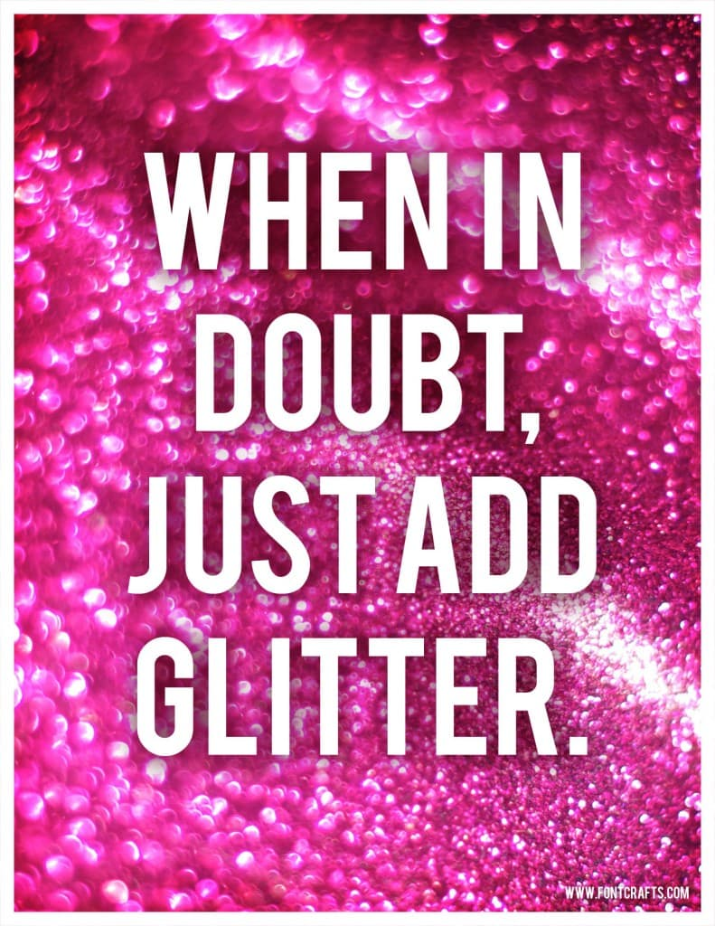 glitter printable quote card