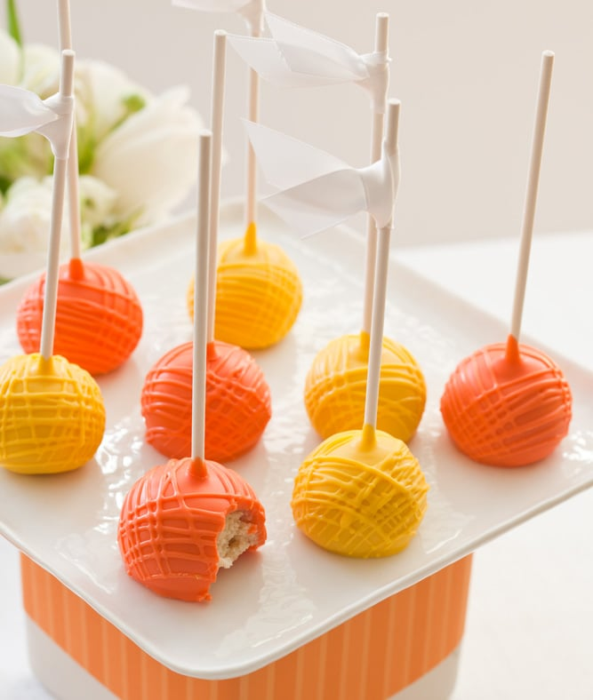 orange and yellow cake ball pops