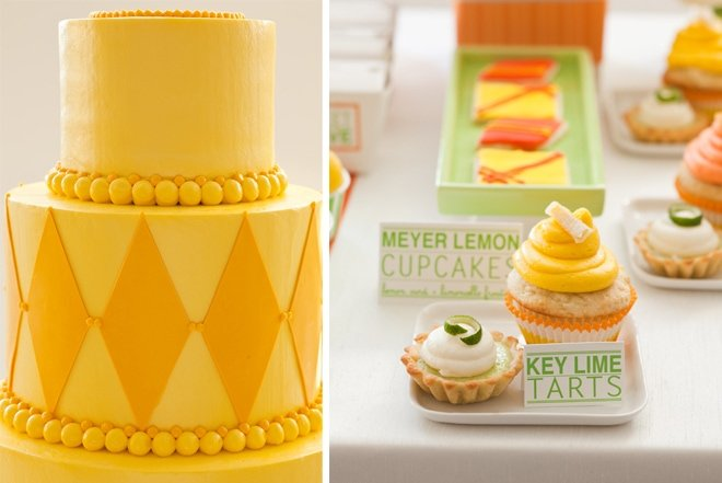 orange and yellow wedding desserts