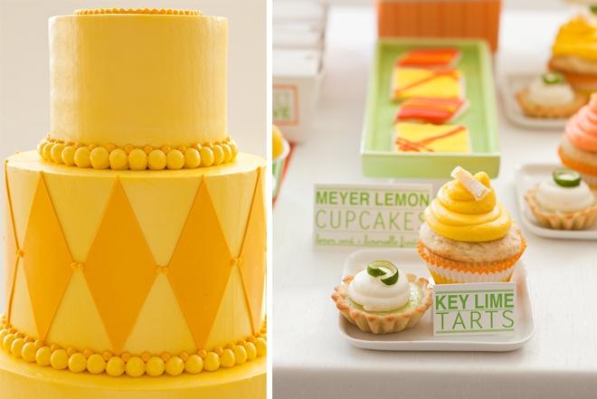 orange and yellow wedding desserts