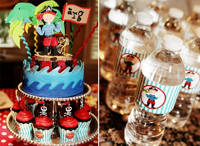 pirate party cakes and water bottles