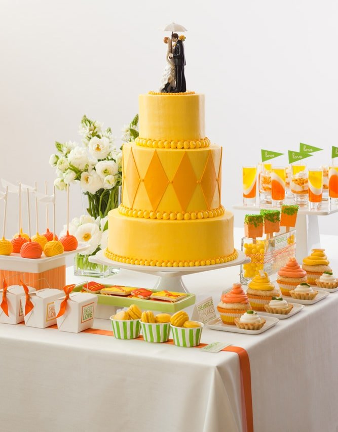 yellow wedding cake display