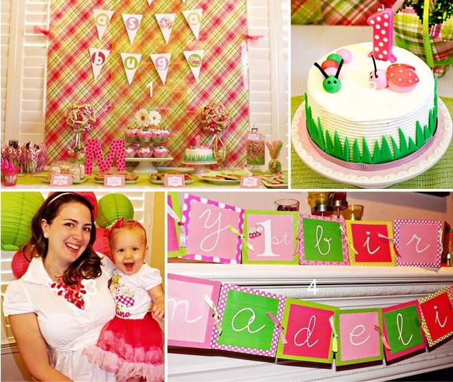 Cute girl bug birthday party