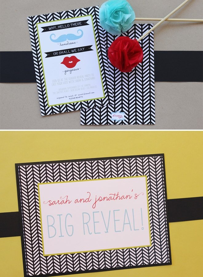 Gender Reveal Party Invitations Striped