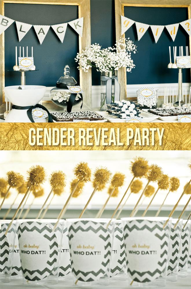 black gold gender reveal party pizzazzerie. Black Bedroom Furniture Sets. Home Design Ideas
