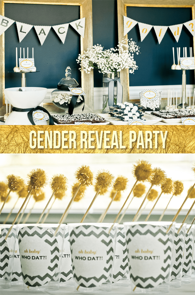 Gold, Black, and White Gender Reveal Party Table!