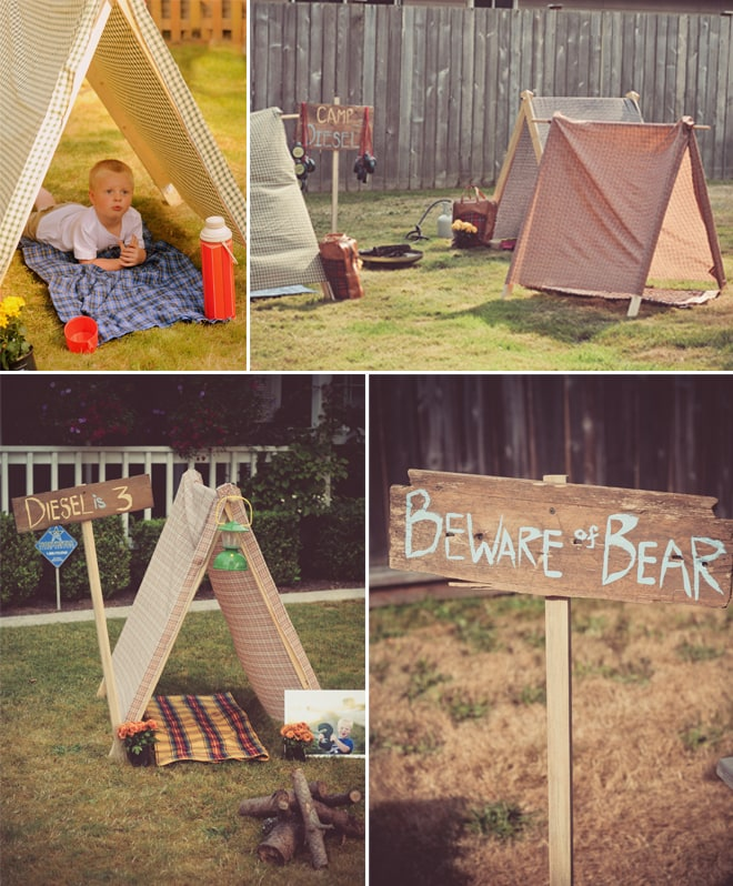 Rustic Wooden Camping Party Tents + Signs