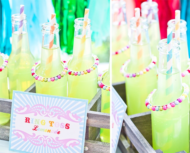 Vintage Carnival Ring Toss Game Lemonade Bottles