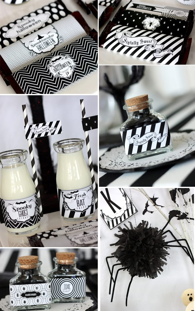 black and white halloween party details