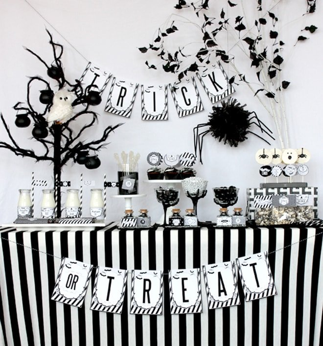 black and white halloween party pictures