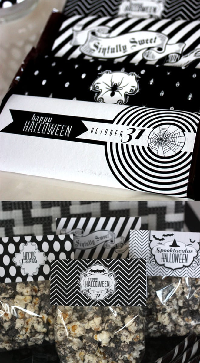 black and white halloween party treats