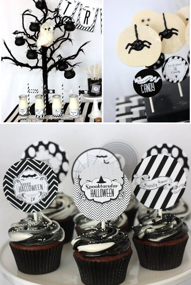 black and white halloween treats