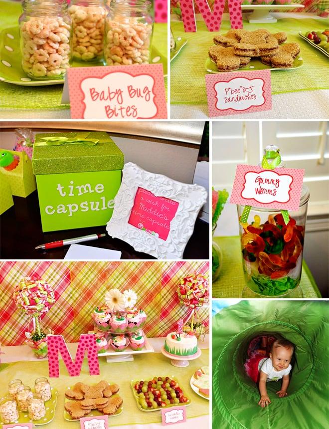 girly pink and green bug birthday