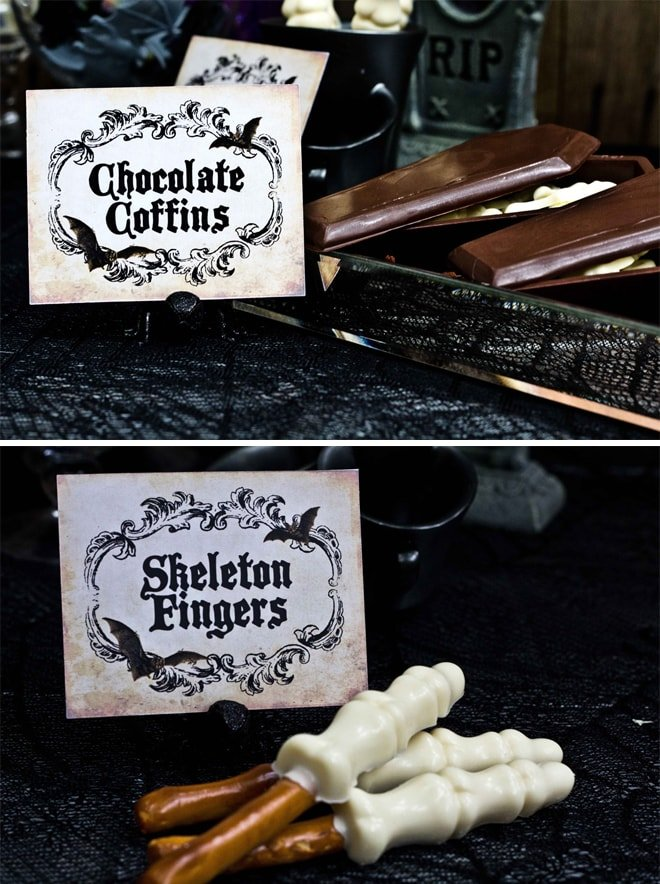 halloween skeleton fingers and chocolate coffins