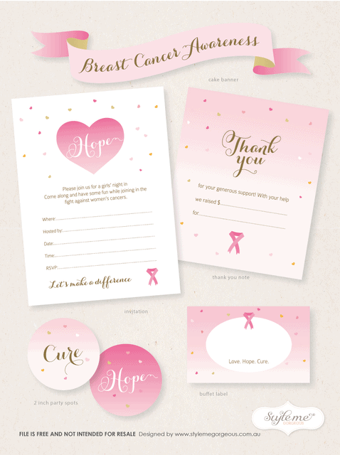 breast cancer awareness free printable invitation