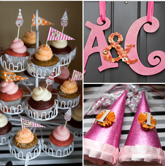 Crafty Pink and Orange DIY Items for Twin's Birthday