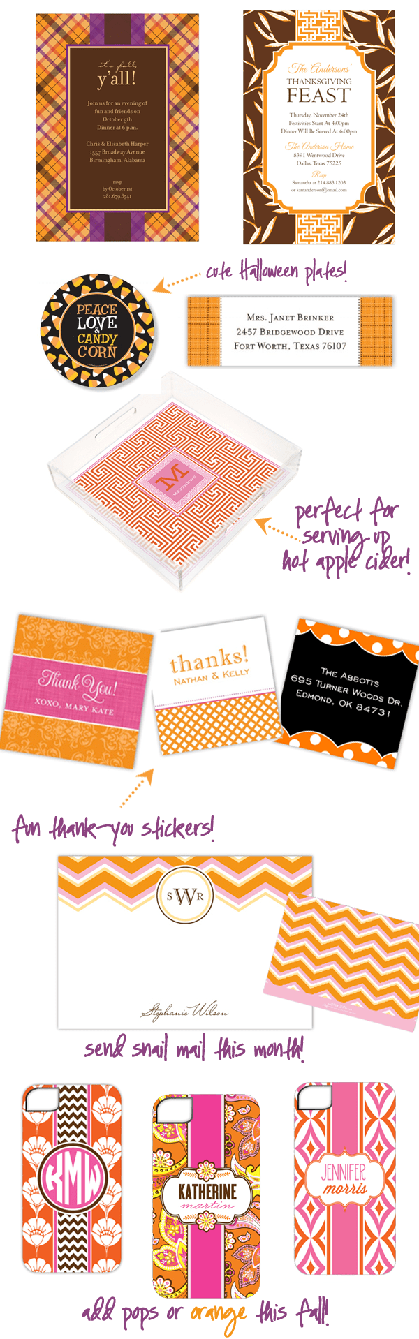Fall Invitations, Stationery, + cute gifts
