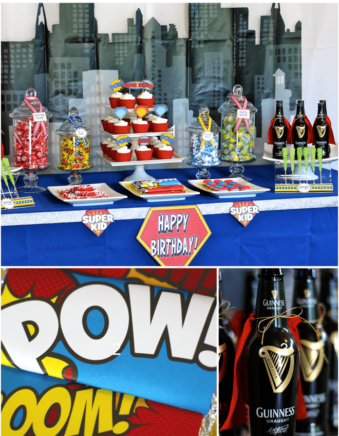 Gotham Superhero Dessert Table for 30th Birthday Party