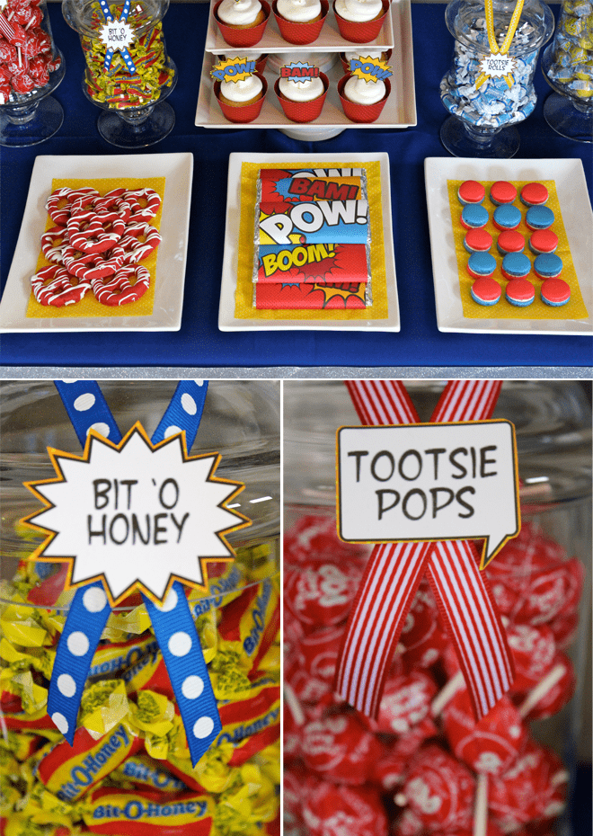 Superhero Gotham 30th Birthday Party Dessert Table