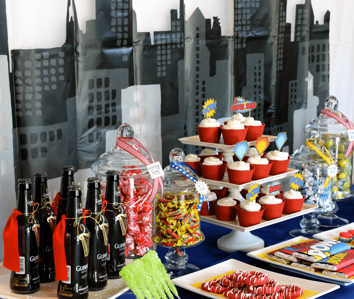POW! A 30th Superhero Birthday Party Dessert Table