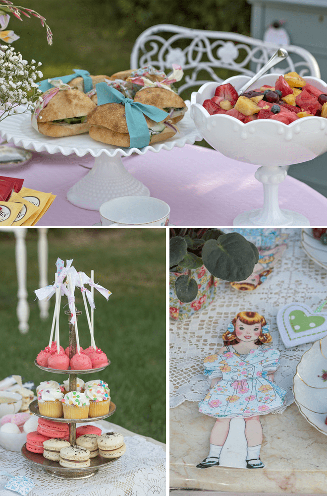 cute vintage tea party with paper dolls