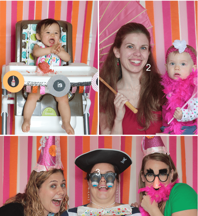Cute Pink and Orange Photo Booth Backdrop Pictures