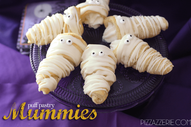 How to make Halloween Mummies out of Puff Pastry on Pizzazzerie.com