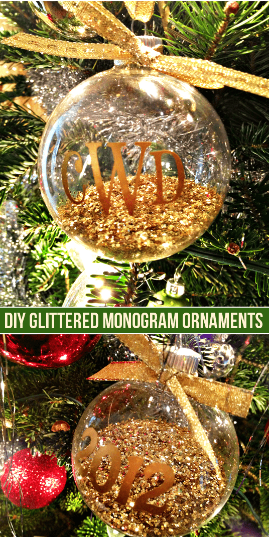 diy glittered monogram ornaments made with the silhouette portrait - Black Friday Christmas Decoration Deals